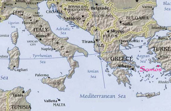 Samos map - Aegean Sea Greece -  Europe